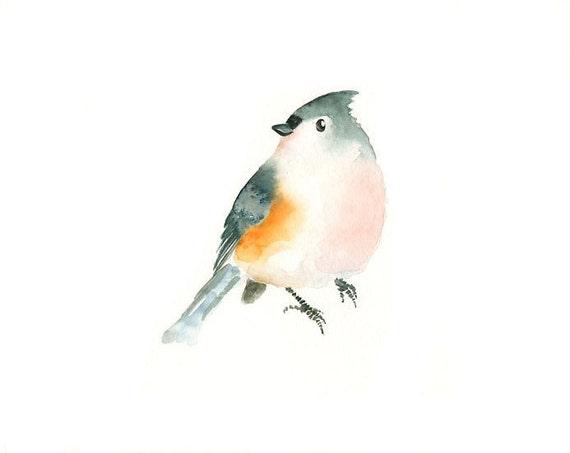 TITMOUSE by DIMDI Original watercolor painting 10X8inch