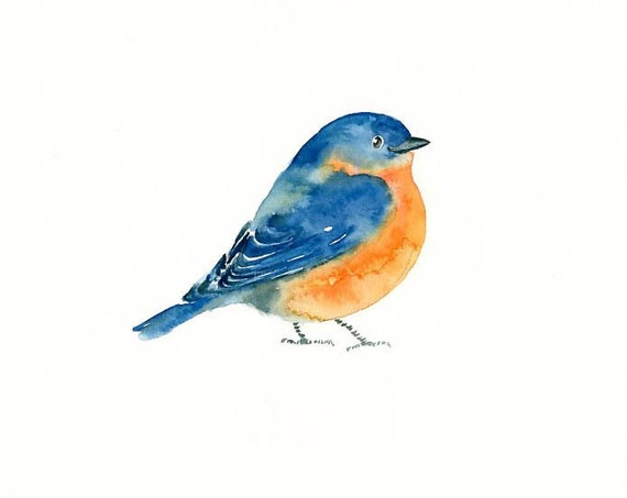 BLUEBIRD by DIMDI Original watercolor painting 10X8inch