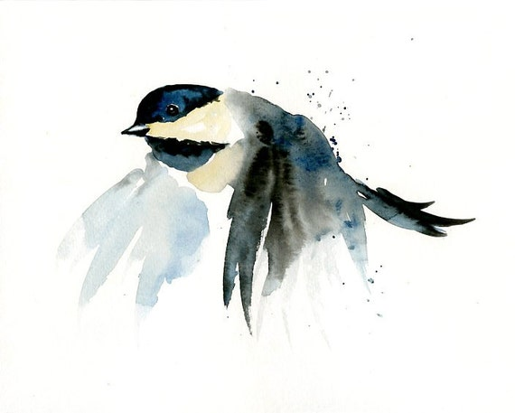CHICKADEE by DIMDI Original watercolor painting 10X8inch