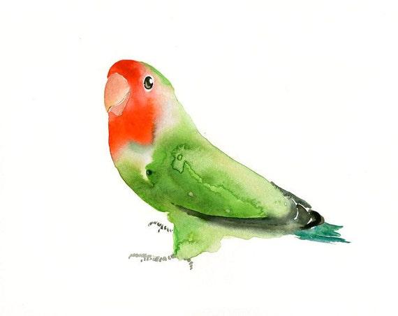 LOVEBIRD by DIMDI  Original watercolor painting 10X8inch