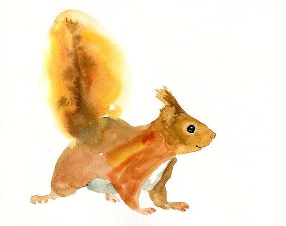 SQUIRREL by DIMDI Original watercolor painting 10X8inch