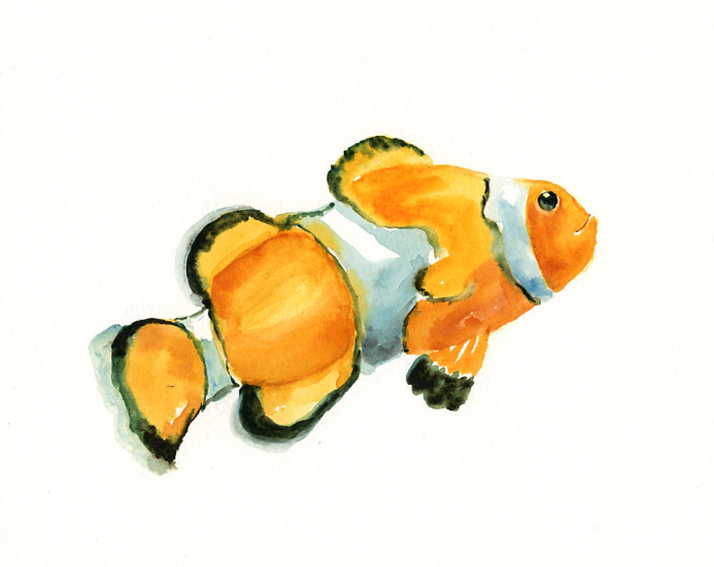 Clown fish by dimdi original watercolor painting 10x8inch for Fish out of water watercolor