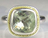 Prasiolite Ring - 18k Gold and Sterling