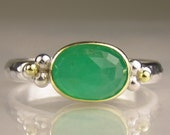 Rose Cut Emerald Ring - Recycled 18k Gold and Sterling