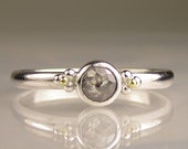 Natural Rose Cut Diamond Engagement Ring - 18k Gold and Palladium Sterling Silver