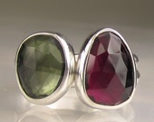 SALE - Natural Pink Tourmaline and GreenTourmaline Gemstone Stacking Rings in Sterling Silver - 20% OFF
