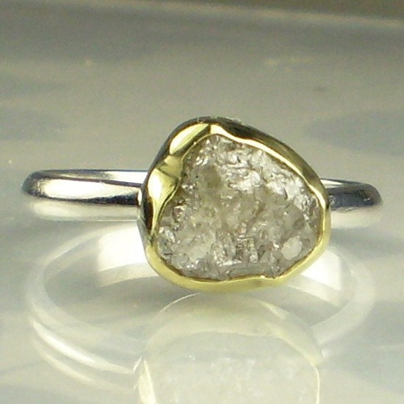 Natural Rough Diamond Engagement Ring - 18k Gold and Sterling