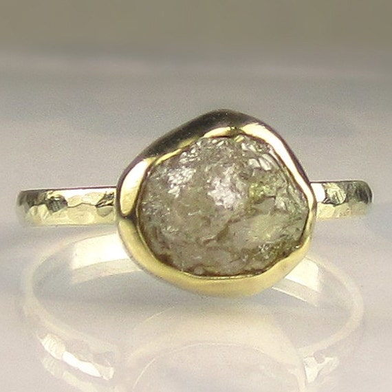 Natural Rough Diamond Ring - 18k and 14k Gold