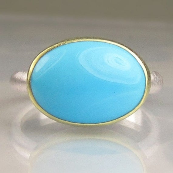 Sleeping Beauty Turquoise Ring - 18k Gold an Sterling