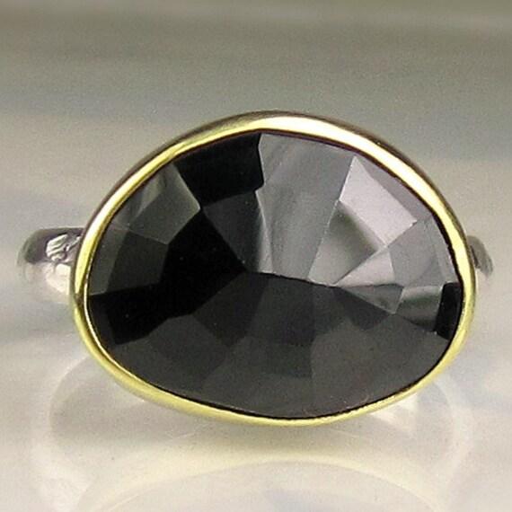 Rose Cut Black Spinel Ring - 18k Gold and Sterling
