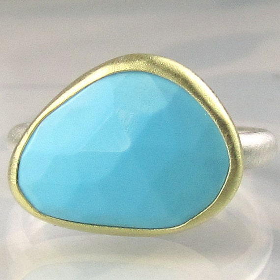 Rose Cut Sleeping Beauty Turquoise Ring - 18k Gold and Sterling