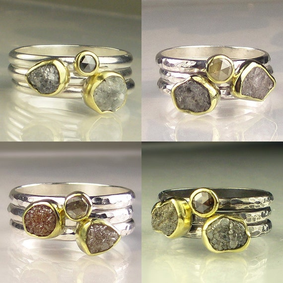 Custom Rough Diamond Ring Stacking Set, Raw Diamond Triple Stacking Rings, Gold and Silver Raw Diamond Engagement Rings