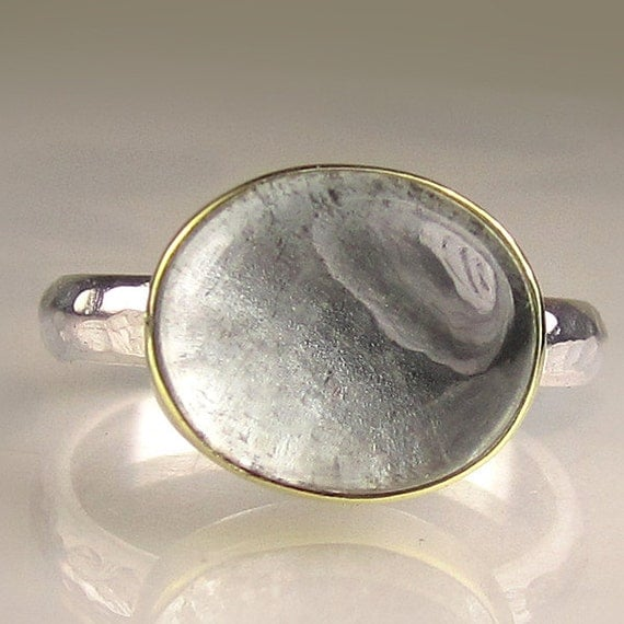 Moss Aquamarine Ring - 18k Gold and Sterling
