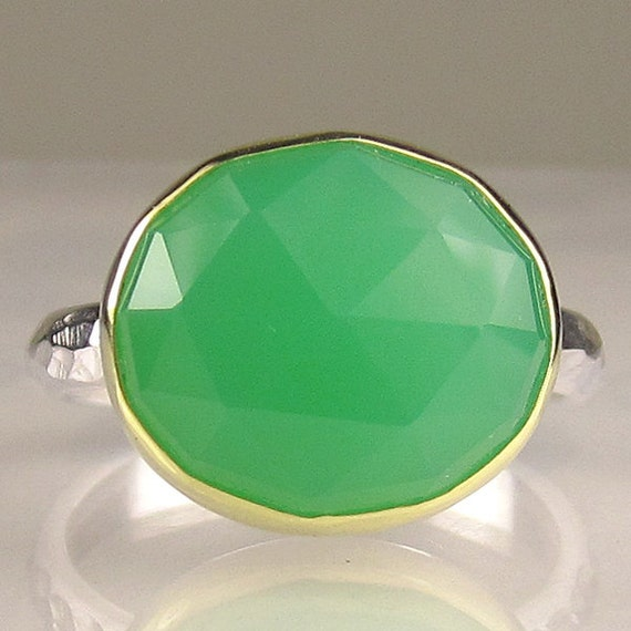 Chrysoprase Ring - Rose Cut  - 18k Gold and Sterling