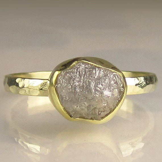 Rough Uncut Diamond Engagement Ring -18k and 14k Gold