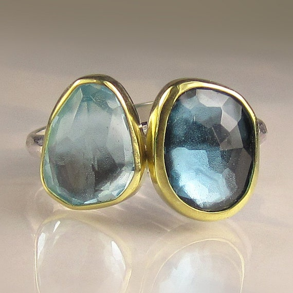 Rose Cut London Blue and Sky BlueTopaz Stacking Rings - 18k Gold and Sterling