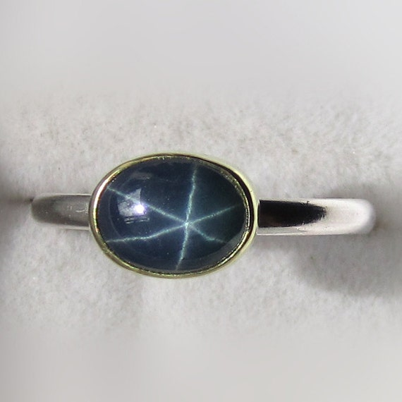 Star Blue Sapphire Gemstone Ring - 18k Gold and Palladium Sterling Silver
