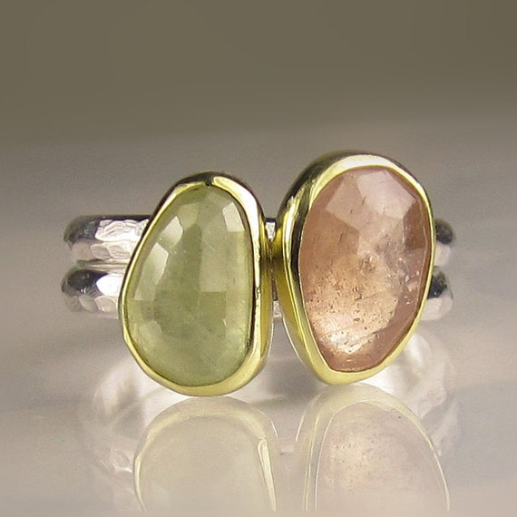 Pink Sapphire and Yellow Sapphire Stacking Rings - 18k Yellow Gold and Sterling Silver