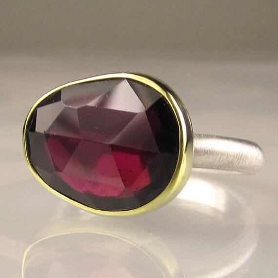 Rose Cut Garnet Ring - 18k Gold and Sterling
