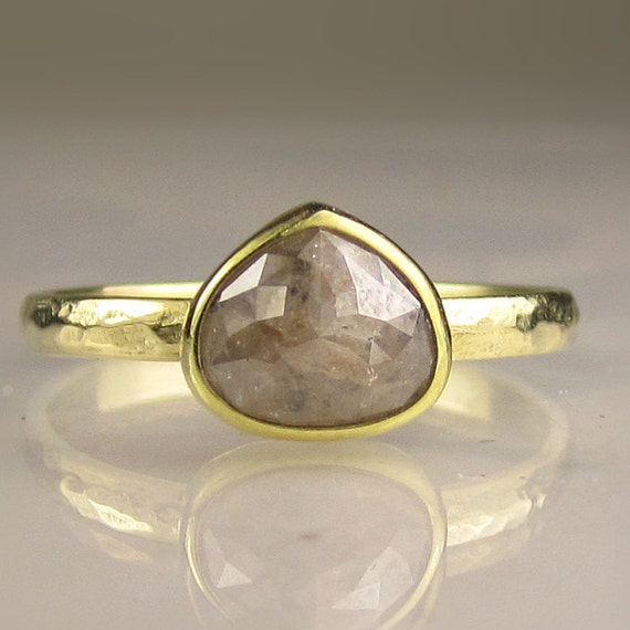 Rose Cut Diamond Engagement Ring - 18k and 14k Gold