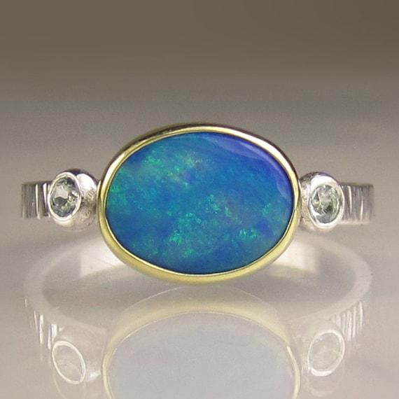 Australian Boulder Opal Ring - 18k Gold and Sterling