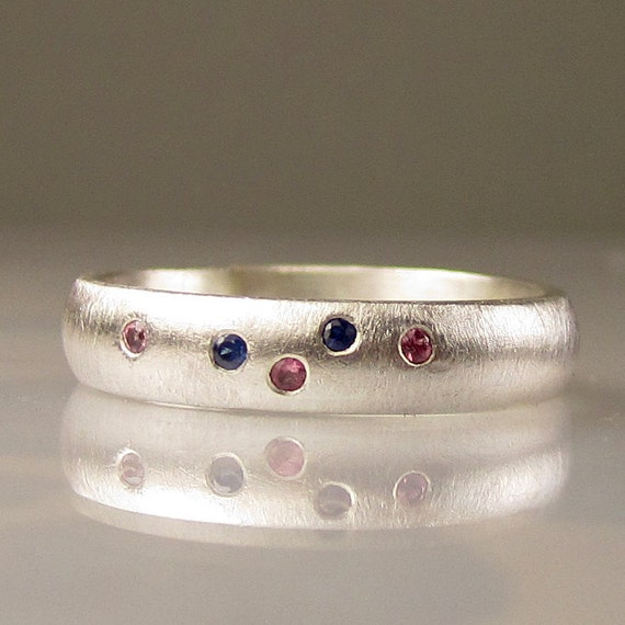 SALE -Sapphire Band in Sterling Silver, Gemstone Stacking Ring - 10% OFF