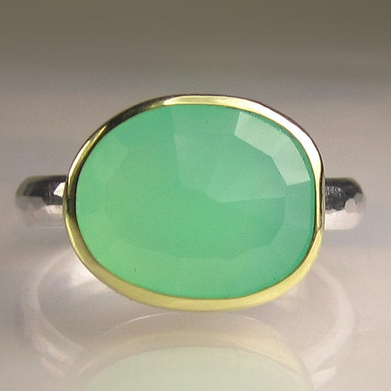 Rose Cut Chrysoprase Ring - 18k Gold and Sterling