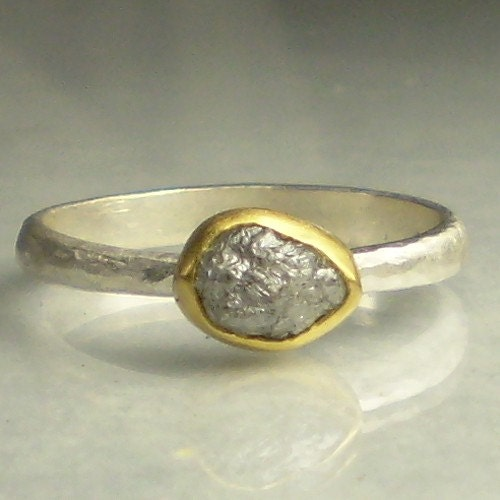 natural rough diamond ring 22k gold and sterling
