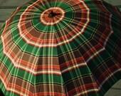 Umbrella  Plaid, Amber Lucite, Parasol,  Bakelite, Wooden Handle,  1950's, Singin' in the Rain, MCM,
