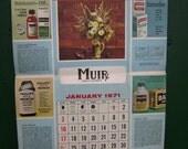 Vintage 1971 Calendar, Muir Drugstore, New Year Advertising, Unused, Coca Cola, Hai Karate, Health and Beauty Aids, Stage Prop, Birthday