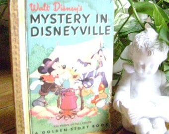 Vintage Golden Story Book, Mystery in Disneyville, 1949 1st Edition, 128 Pages, Short Printing Run, Good Condition, Mickey Mouse Donald Duck