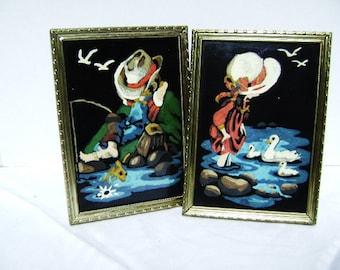 Vintage Paint by Number Pair, Fishing Boy, Girl with Geese, PBN Framed, Black Velvet  Kitsch, Cultural Popular Art, Rural Children Nursery
