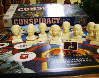 Vintage Game, Conspiracy Spy, Milton Bradley, Betrayal and Espionage, International, Classic Top 10 Spy Game, Assemblage Game Pieces