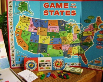Vintage Game of the States, Complete  Board Game, MB, Geography, Game Pieces, Trucks, Markers, Money, Info Cards, Assemblage Supplies, Study
