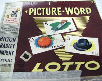 Picture Word Lotto Game, Milton Bradley, 1958, Assemblage Art, Collage, Children, nouns, Preschool, USA