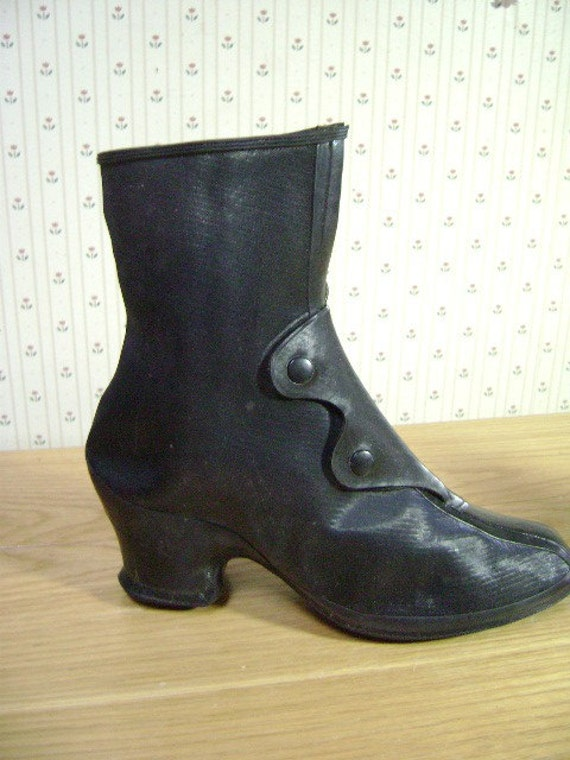 Vintage Boots, Granny Go Gos, Rubber Victorian Galoshes, Deadstock, overshoes, Rain Boots, high heel pull overs, Two Small Sizes, Steampunk