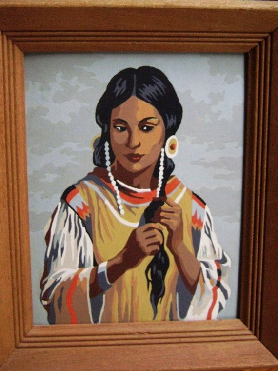 Paint by Number, Indian Maiden, Native American Paintings, Historical Kitsch, Cultural Popular Art, PBN, Framed