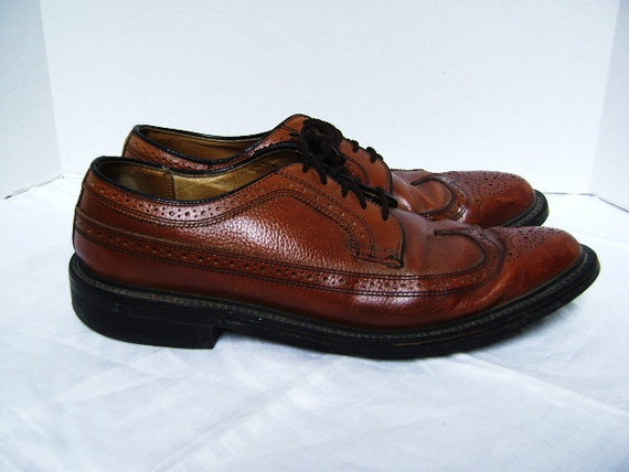 Wingtip Shoes,  Leather Oxford, Brown, Vintage 12A, Man's, Dexter, Made in USA, Classic Business Geek, Perforated, Marked Down From 45, SALE