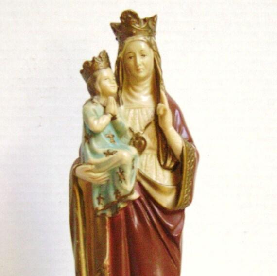 Religious Souvenir Figurine, St Anne of Beaupre, Quebec, Made in France, Icon, Shrine, Roman Catholic Saint
