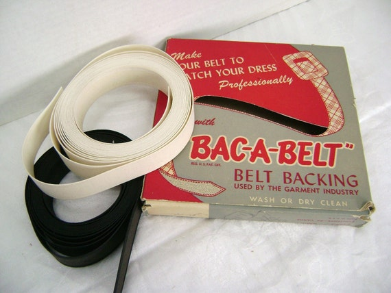 Belt Backing in the Box, Bac a Belt, Vintage Sewing Supply, Red and Gray Box, Retro Graphics, Display Piece for Sewing Collection