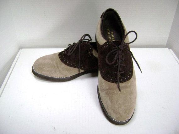 Saddle Shoes Hush Puppy Suede Vintage Classic Saddle