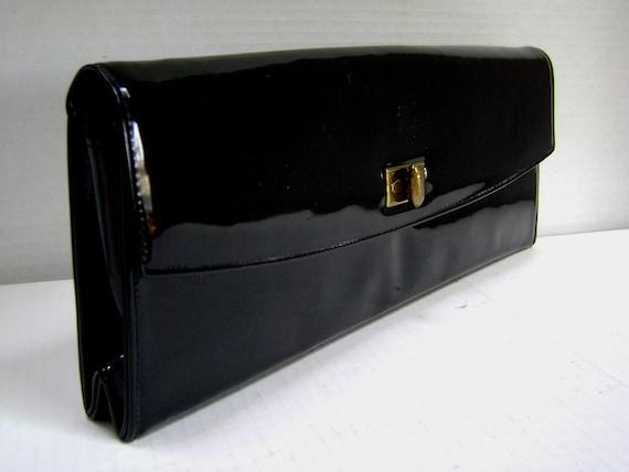 Vintage Purse Black Patent Leather, Rolfs Brand, Handbag, 60s Sleek Shiny and Chic, Beautiful Classic, Envelope Clutch