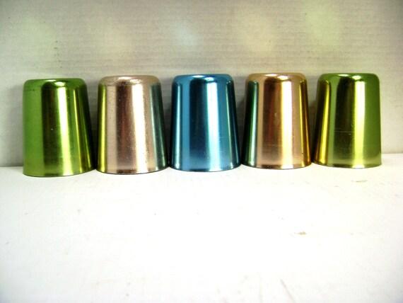 Vintage Aluminum Tumblers, 5 Piece Set, Bascal, Shabby Cottage Chic, Retro Drinking Glasses, 1940s 1950s, Shiny, More Sets Available