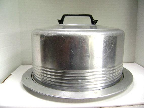 Vintage Cake Carrier, Aluminum with Bakelite Handle + Locking Latches Plate + Cover, June Cleaver Entertaining Hostess, Retro Potluck Picnic