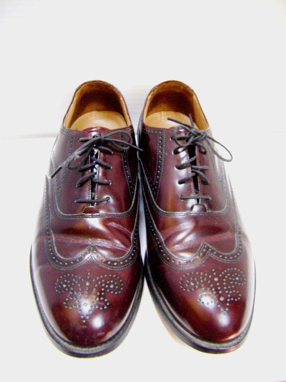 Oxford Wingtip Shoes,  10 D Man, Stafford Executive, Burgundy, Made in USA, Business Geek, Leather,  Classic, Steampunk, Rockabilly,