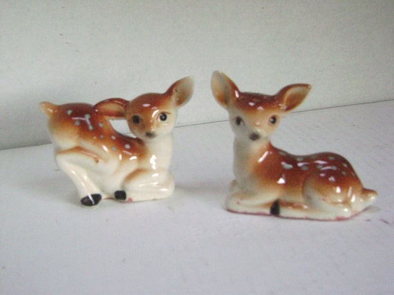 Vintage Deer Salt and Pepper Shakers,  Bambi, Japan, 50s, 60s, Spring Spotted Fawns, Kitchen Cottage Christmas Creature