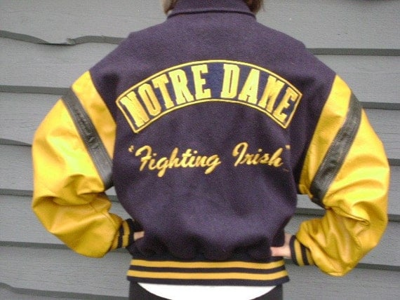 80s NOTRE DAME VARSITY JACKET, VINTAGE, BIG MAN ON CAMPUS,  early eighties, XL, extra large, football games at the Golden Dome, marked down clearance sale priced