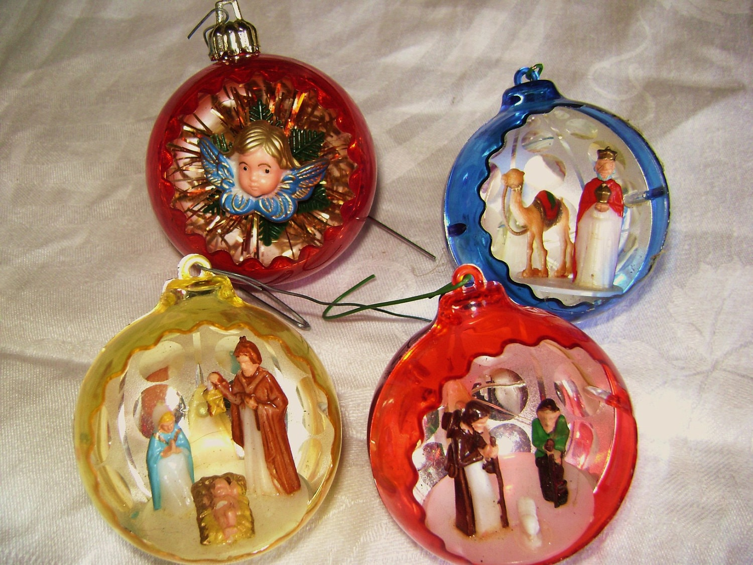 Reserved for mairi vintage christmas ornament set of four for Christmas holiday ornaments