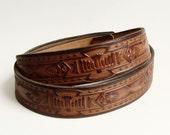 tooled leather belt / southwesternbelt / Navajo native american inspired / leather belt / vintage belt