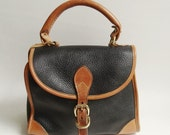 Dooney and Bourke handbag / black leather Dooney and Bourke bag / pebbled leather bag / leather purse / vintage purse